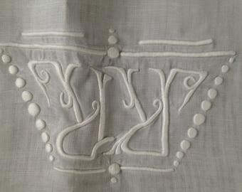 French Linen Bolster Pillow Case Sham Coverlet Monogrammed Floral Mon