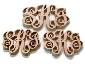 3 Piece Wood Monogram Kitchen Trivet Set
