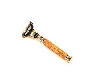 Shaving Razor with Silk Oak Handle