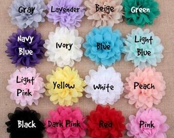 BEIGE Tan -  Large Chiffon Flowers - 4 Inch - Wedding Chiffon Petal Flowers - Headband Fabric Chiffon Flowers - Chiffon Puff Flower