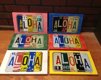 License plate sign -Any Word - personalized sign- reclaimed vintage license plates - ANY COLOR! Wholesale Shabby chic