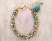 Blue Agate, Turquoise and Gold Chain Bracelet