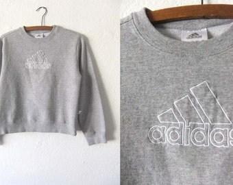 Cropped Adidas Sweatshirt - Boxy fit Sporty 90s Health Goth Athleisure Heather Grey Vintage Jumper - Womens Small