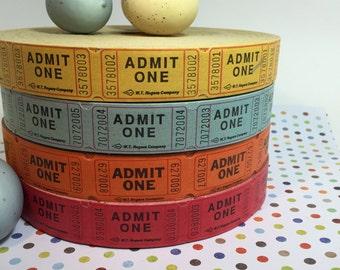 100 ADMIT One Tickets / VINTAGE Admit One Red, Orange, Yellow, White & blue Raffle Carnival Festival Birthday Wedding Tickets
