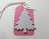 Christmas Tags set of 10 Pink Embossed White Glitter Christmas Tree Gift Tags