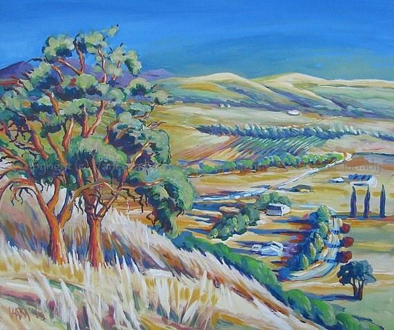 Late Day Oak Hillside - Original Painting by V. Hadady, BFA, MA