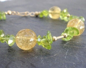 Natural Gemstone Peridot Faceted 8mm Ovals - Citrine Gemstone Round 10mm Beads - 14kt Yellow Gold Filled Bracelet