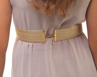 Gold belt, dress belt, gold sash, gold waist belt, wide gold belt, woman waist belt, elastic gold belt, wedding dress belt, bridal gold belt