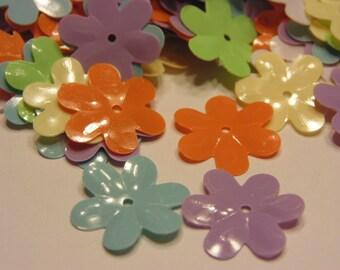 30 bright color plastic flower sequins / confetti, 16 mm (10)+