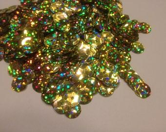 multi shine large gold color sequins / confetti, 9 mm (14)