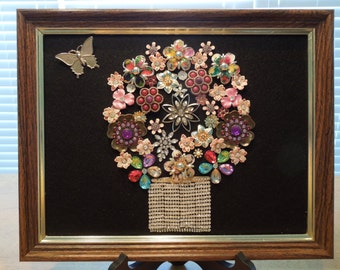 Jewelry Art, Floral Art, Basket of Flowers with Butterfly,  Hand Made by Me.  Make an Offer