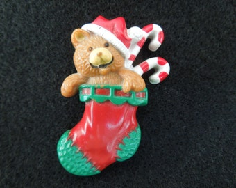Vintage Hallmark Brooch.  Christmas Gift Stocking.  Dated 1985.  Excellent Condition