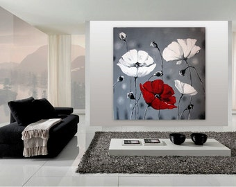 Huge Original Oil Painting 51 x 51 - Poppy Flowers - Grey Red White Wall Art - Flower Painting Of Poppies - Impasto Contemporary Art - XXXL