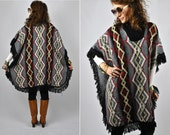 RESERVED Vintage Fringed Poncho - Cape - Poncho - Lagenlook Oversized - Ethnic Aztec Poncho - Navajo Tribal Southwestern size free S - M - L
