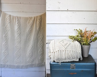 Fisherman Chunky WOOL Blanket Irish Hand Knit Blanket Ivory Fringes Bed Couch Sofa Throw Large Big L