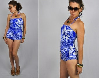Vintage 50s 60s Halter Swimsuit Open Back Blue & White Vintage Beach Wear One Piece Bombshell Pinup S - M