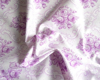 vintage violet fabric antique french fabric vintage fabric violet floral fabric  patchwork quilting fabric 154