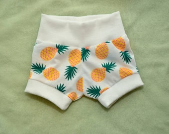 Infant/Toddler Pineapple Mini Shorts with contrasting Waistband and Leg Cuffs