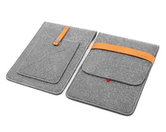 iPad Case iPad Sleeve Tablet Case for iPad Air1 2 Wool Felt iPad Cover Phone Case Leather Purse with Italian Thick Leather Strap TopHome