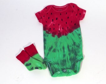Watermelon Infant Onesie, Matching Bamboo Socks, Made To Order