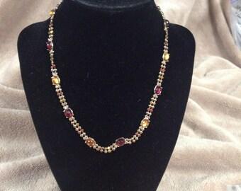 Vintage MONET Goldtone with Acrylic Gemstone Necklace, Length 16''