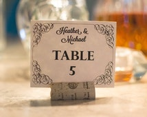 Elegant Swirls Table Cards, Custom Table Numbers, Wedding Reception Decor, Wedding Table Cards, Script Table Numbers