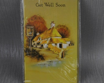 Unused Get Well Soon Old New Stock Card with Envelope Sealed Painted Pub Inn  Design