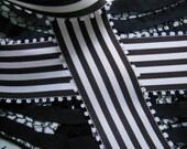 Vintage Black & White Striped Grosgrain Ribbon, Yardage