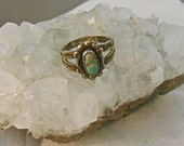 Vintage  Silver 925 Natural Turquoise Stone Ring Etched Double Shank Small Pinky Size  Southwestern Hippie Tribal 1960's