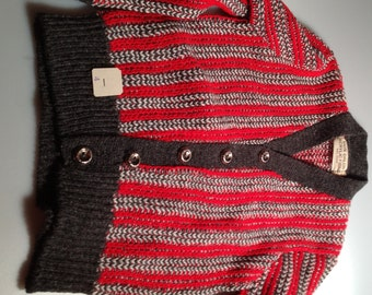 1950s Vintage Boy's CARDIGAN SWEATER Size 4 Orlon Acrylic Movie Costume New Old Stock Button Down Sweater DEADSTOCK Never Worn