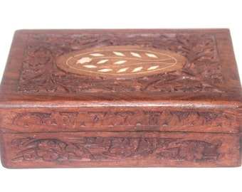 Vintage Shasheem Carved Trinket Box, Bone Inlay, India, 1970, Home Office Decor,  Antique Alchemy