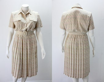 Plus Size Dress - Neutrals Pleated Skirt