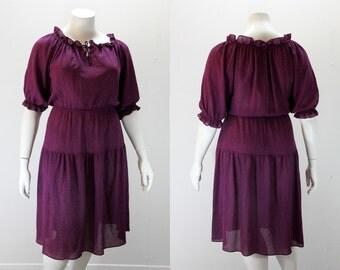 XL - XXL Vintage Dress - Deep Purple w Metallic Flecks