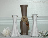 Hand Painted set of 3 Glass Vases in a Shabby Cottage Chic Style