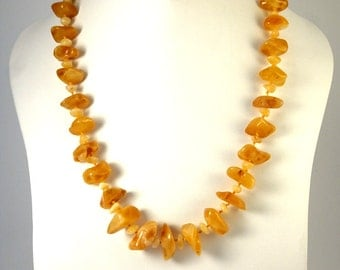 Authentic Baltic Amber Necklace Butterscotch color Mixed size Beads 52 cm 20 inches