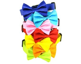 Solid Bow Tie Dog Collar/ Blue/ Red/ Pink/ Orange/ Green: Rainbow Solids