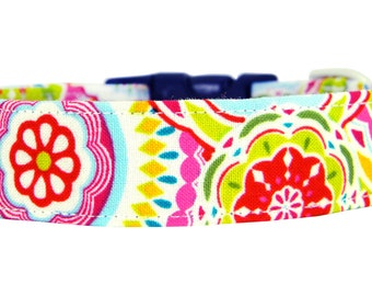 Colorful Dog Collar/ Red/ Pink/ Yellow Dog Collar: Confetti