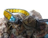 Yellow Square Glass Gray Leather Bracelet