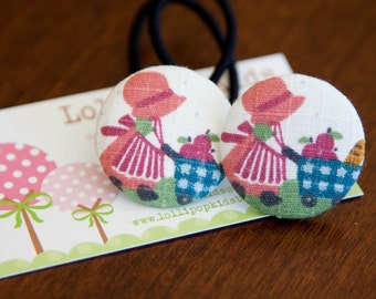 2 Piece Sunbonnet Covered Button Hair Ties