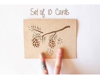 Holiday Card Set of 10: Eastern Hemlock Pine Card Set--Laser cut card set--Pine Cone Cards