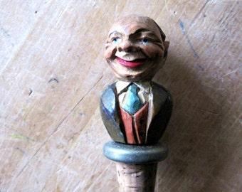 Vintage Barware, Hand Carved Bottle Cork, Bottle Stoppers, Barware, Folk Art, Old Man, Old Dude, Primitive Art, Americana
