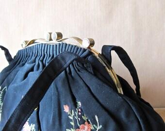 Vintage Handbag, Embroidered Purse, Black Clutch, Black Handbag, Floral Purse, Small Vintage Purse, Fabric Handbag, Julius Garfinckel & Co.