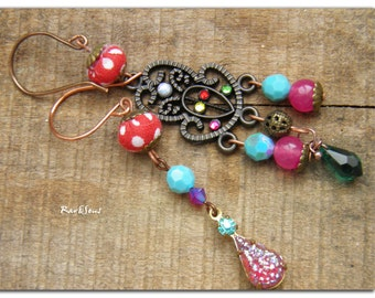Asymetrical textile earrings-Hippies earrings-Textile red with white dots-copper metal filigree earrings-pink jade-green and blue crystal-