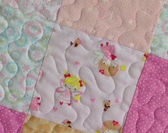 Modern Girl Quilt in Pastel Shades of Pink with Minky Fabric