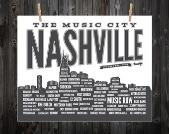 Nashville Neighborhood Poster, Nashville, Tennessee, Nashville Art, Nashville Print, Nashville Poster, Nashville Sign, Nashville Map
