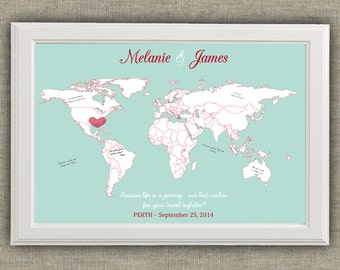 Travel Theme Wedding Guest Book Alternative - World Map - Destinations - Printable file