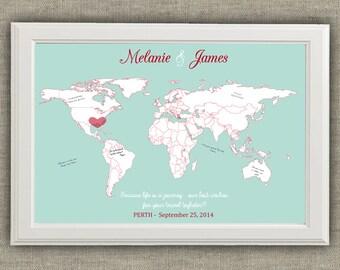 Travel Theme Wedding Guest Book Alternative - World Map - Destinations - Printable file