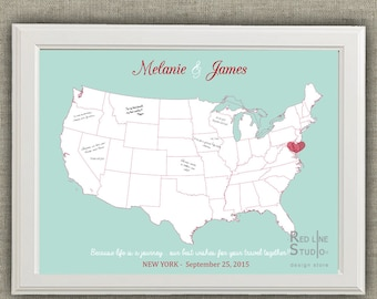 Usa Map Wedding Guest Book Alternative -  Printable guest book poster - digital file