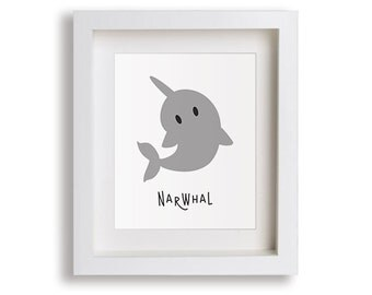 Narwhal Nursery Art Print - Children's Decor, Baby's Nursery, Arctic, Kids Wall Art, Playroom Decor, Ocean Animal Art, Toddler Room