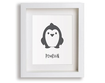 Penguin Childrens Nursery Decor Art Print - Arctic Animals, Modern Kids Art, Childrens Decor, Playroom Decor, Antarctica, Graphic Art